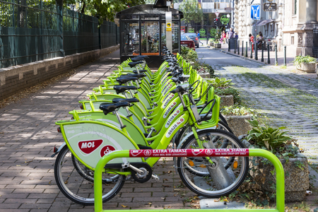 BUDAPEST, HUNGARY - 21 AUGUST 2017: Rental and parking of pleasure bicycles in the city of Budapest in Hungary