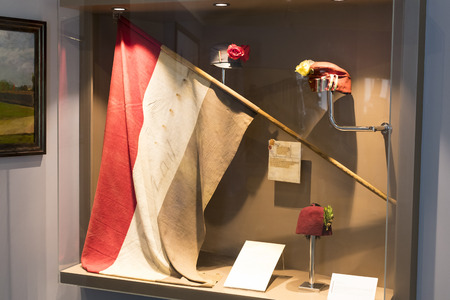 BUDAPEST, HUNGARY - 22 AUGUST 2017: Museum of the history of the military of the Hungarian army with historical exhibits and compositions on the theme of war.