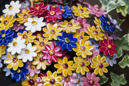 Traditional Hungarian ceramic flowers to decorate the interior of gardens and flower pots Reklamní fotografie