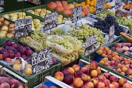 23 AUGUST 2017, VIENNA, AUSTRIA: The oldest in Vienna is the Naschmarkt Market with products of alcoholic fruits and vegetables.