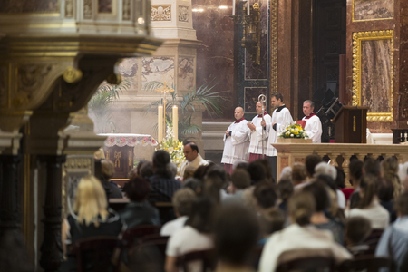 BUDAPEST, HUNGARY - AUGUST 20, 2017: Religious Mass Service in the Basilica of St. Istvan in honor of St. Istvan Day