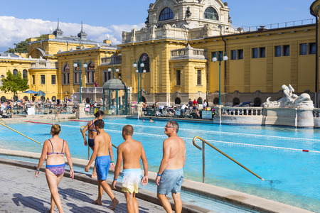 BUDAPEST, HUNGARY - 21 AUGUST 2017: The oldest Szechenyi medicinal bath is the largest medicinal bath in Europe. Editorial