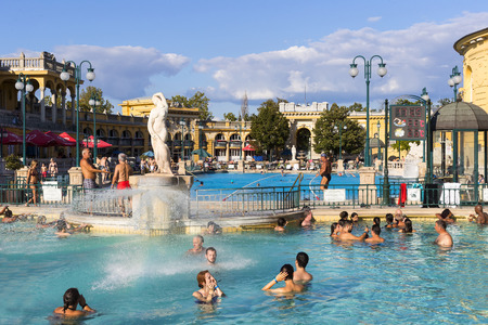 bath: BUDAPEST, HUNGARY - 21 AUGUST 2017: The oldest Szechenyi medicinal bath is the largest medicinal bath in Europe. Editorial