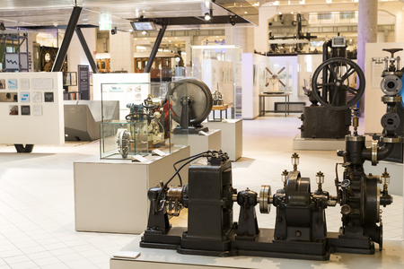 VIENNA, AUSTRIA - 24 AUGUST 2017: The technical museum in Vienna exhibits the production of energy industry machinery. 新聞圖片
