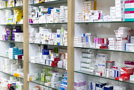 SIDE, TURKEY - 4 OCTOBER, 2017: Pharmacy cabinets with medicines and drugs tablets and food additives