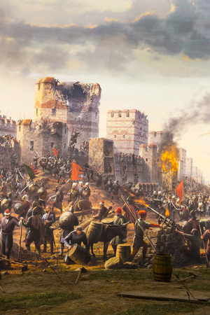 ISTANBUL, TURKEY - 6 JUNE, 2016: Fall of Constantinople Captured by Mehmet. Panorama Museum 1453, Istanbul, Turke Редакционное