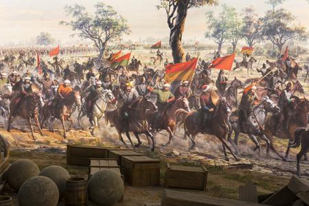 ISTANBUL, TURKEY - 6 JUNE, 2016: Fall of Constantinople Captured by Mehmet. Panorama Museum 1453, Istanbul, Turke