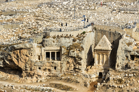 JERUSALEM, ISRAEL - 22 NOVEMBER 2017: The most ancient Jewish cemetery in the world on the Mount of Olives Editoriali