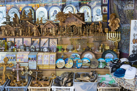 JERUSALEM, ISRAEL - 22 NOVEMBER 2017: The market of religious objects of worship of different religions in the territory of the old Jerusalem