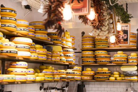 TEL AVIV, ISRAEL - 26 NOVEMBER 2017: Shops and counters with products and food