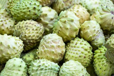 Guanabana ripe juicy fruit close-up background