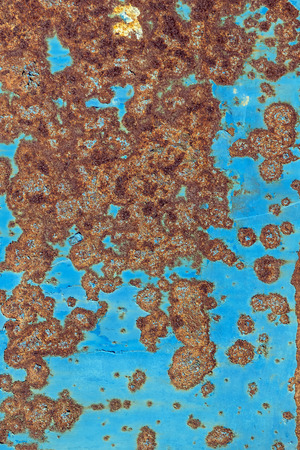 Background of rusty metal with irradiated paint