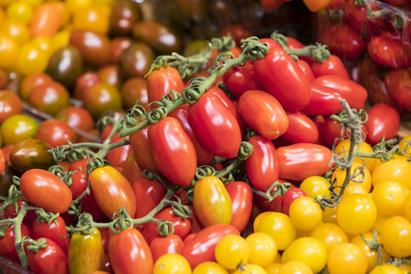 Background of ripe varieties of cherry tomatoes