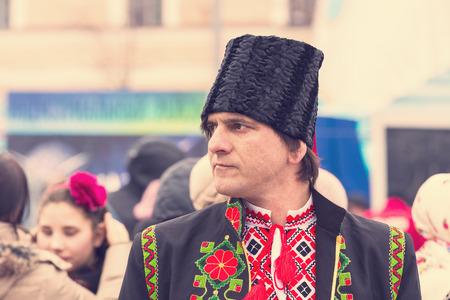 KHARKOV, UKRAINE- 26 FEBRUARY 2017: Traditional celebration carnival costume show in the town square.