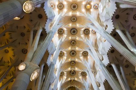BARCELONA, SPAIN - 13 JANUARY 2018: The Gothic style of Sagrada Familia.