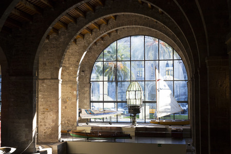 BARCELONA, SPAIN - 11 JANUARY 2018: Expositions in the naval museum located in the city of Port Vell area of ??Barcelona.