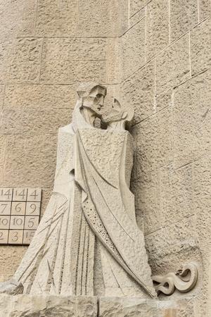 BARCELLONA, SPAGNA - 13 GENNAIO 2018: elementi dell'architettura della nuova parte del tempio Sagrada Familia. Archivio Fotografico - 94093167