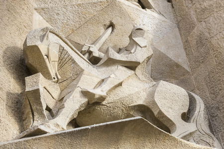 BARCELONA, SPAIN - 13 JANUARY 2018: Elements of the architecture of the new part of the temple Sagrada Familia.
