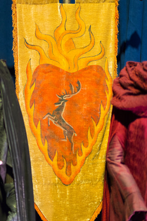 BARCELONA, SPAIN - 11 JANUARY 2018: Exhibition of costumes and props from the movie The Game of Thrones in the premises of the Maritime Museum of Barcelona. Editorial