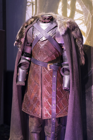 BARCELONA, SPAIN - 11 JANUARY 2018: Exhibition of costumes and props from the movie The Game of Thrones in the premises of the Maritime Museum of Barcelona. Sajtókép