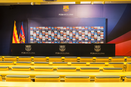 BARCELONA, SPAIN - 12 JANUARY 2018: Interior of the stadium stands and indoor spaces Camp Nou In Barcelona in Spain