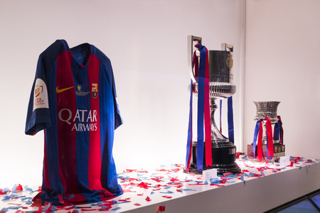 BARCELONA, SPAIN - 12 JANUARY 2018: The museum of trophies of the cups and awards of the team FC Barcelona in the Camp Nou.