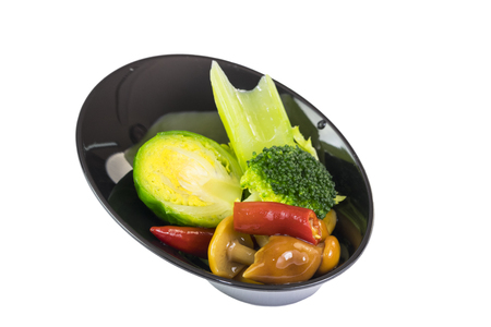 Mini appetizers from vegetable canap in plastic disposable dishes on white background Banco de Imagens
