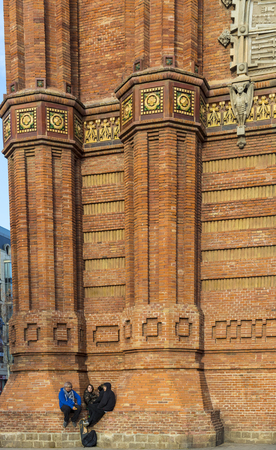 BARCELONA, SPAIN - 13 JANUARY 2018: The Arc de Triomphe, built by architect Josep Vilaseca of red brick in neo-Mauritanian style. Editorial