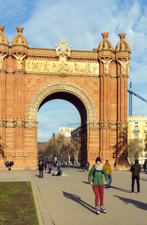 BARCELONA, SPAIN - 13 JANUARY 2018: The Arc de Triomphe, built by architect Josep Vilaseca of red brick in neo-Mauritanian style.