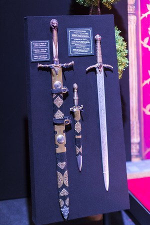 BARCELONA, SPAIN - 11 JANUARY 2018: Original costumes of actors and props from the movie
