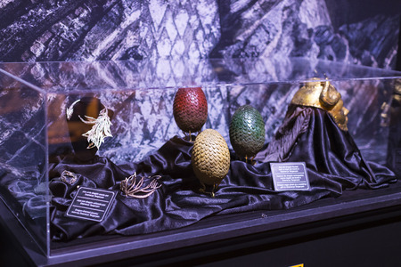 BARCELONA, SPAIN - 11 JANUARY 2018: Original costumes of actors and props from the movie The Game of Thrones in the premises of the Maritime Museum of Barcelona.