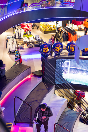 BARCELONA, SPAIN - 12 JANUARY 2018: Official Store FC Barcelona, ??clothing and footwear team of souvenirs and paraphernalia for fans of the team and visitors of the stadium.