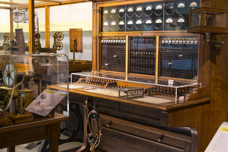 VIENNA, AUSTRIA - 24 AUGUST 2017: The technical museum in Vienna exhibits the production of the history of the development of the telegraph and telephone exposition. Редакционное