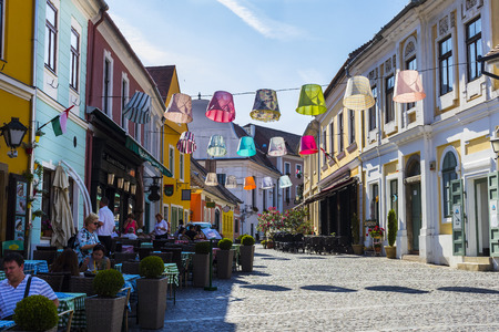 BUDAPEST, HUNGARY. 23 JUNE, 2017: The streets of the tourist town of Szentendre with shops and restaurants. Editöryel
