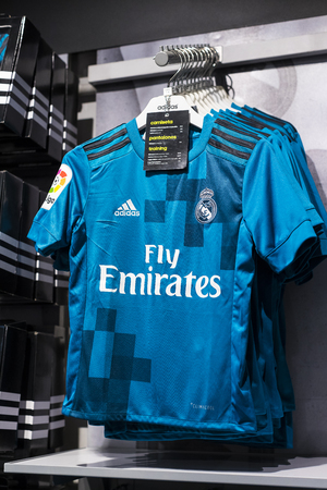 MADRID, SPAIN - 25 MARCH, 2018: Official clothing store and sports attributes for fans Real Madrid Football Club.