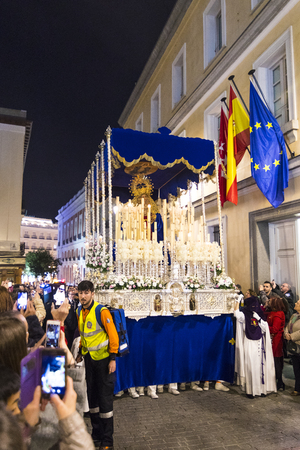 MADRID, SPAIN - 28 MARCH, 2018: The traditional profession of religious orders during the Holy Week of the Holy Week. Editorial