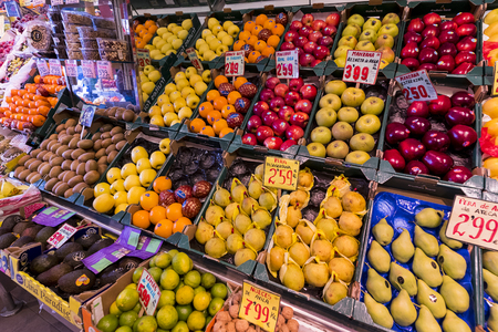 MADRID, SPAIN - 27 MARCH, 2018: Fruit vegetable shop on the street of the city of Madrid.