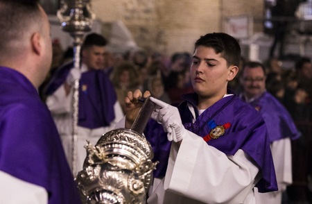 MADRID, SPAIN - 30 MARCH, 2018: The traditional profession of religious orders during the Holy Week.