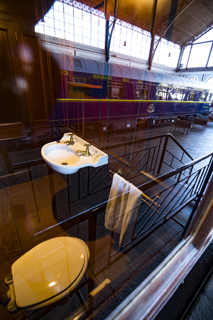 MADRID, SPAIN - 27 MARCH, 2018: Interior carriages of the train in the museum of the railway in Madrid.