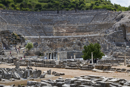 EPHESUS, TURKEY - 6 MAY, 2017: The ruins of the ancient antique city of Ephesus, the library of Celsus, the amphitheater temples and columns. Candidate for the UNESCO World Heritage List