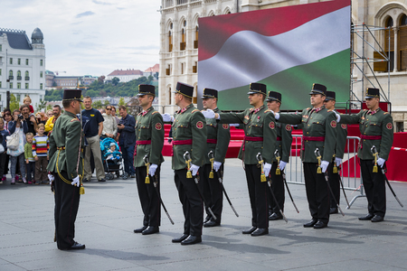 BUDAPEST, HUNGARY - 20 AUGUST 2017: Festive speech by the soldiers of the Hungarian army near the entrance to Saint Istvan. Editorial