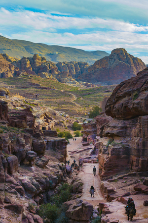 JORDAN, Ancient Petra - 10 JANUARY 2017: Tourist complex of the ancient city of Petra with tourists and locals Editorial