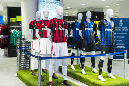 7 JUNE 2018, MILAN, ITALY: Official Store FC Inter Milan and Milan, clothing and footwear team of souvenirs and paraphernalia for fans of the team and visitors of the stadium.