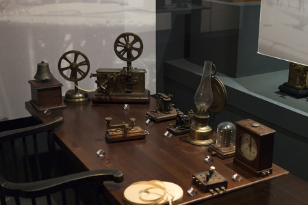 6 JUNE 2018, MILAN, ITALY: Technological Technical Museum named after Leonardo Da Vinci Department, exposition of the development of communication and telecommunications.