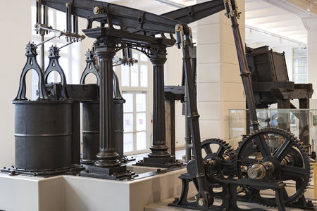 VIENNA, AUSTRIA - 24 AUGUST 2017: The technical museum in Vienna exhibits the production of exposition shows the history of development of metal working machines.