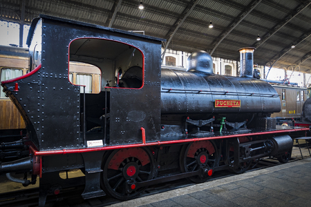 MADRID, SPAIN - 27 MARCH, 2018: Museum of trains Madrid exposition of railway equipment service equipment and history of development. Editorial