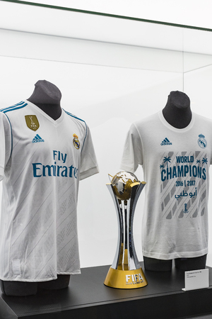 MADRID, SPAIN - 25 MARCH, 2018: The Museum of the Real Madrid Football Club cups and awards the club. 報道画像
