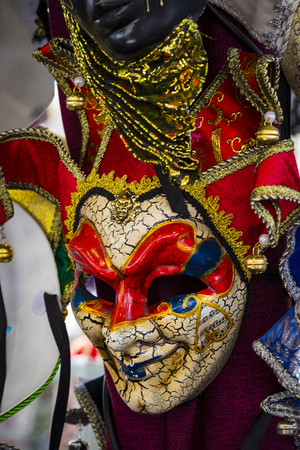 The traditional beautiful Venetian mask for participation in the carnival is shot closeup.