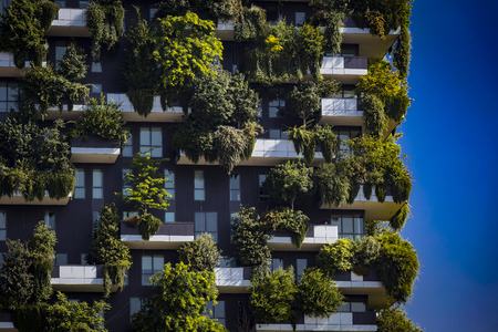 MILAN, ITALY - 6 JUNE 2018: Bosco Verticale.Two trees of 1000 trees. Editorial