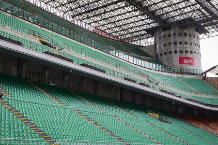 7 JUNE 2018, MILAN, ITALY: Elements of the interior stadium football teams Inter Milan and Milan in the city of San Siro. Editorial